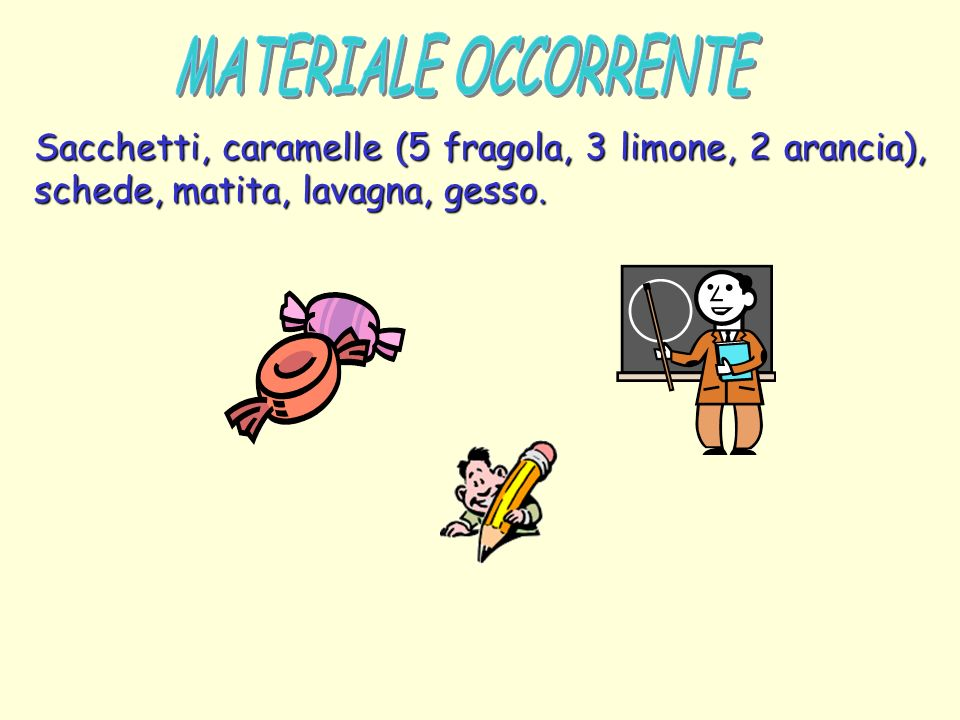 MATERIALE OCCORRENTE Sacchetti, caramelle (5 fragola, 3 limone, 2 arancia), schede, matita, lavagna, gesso.