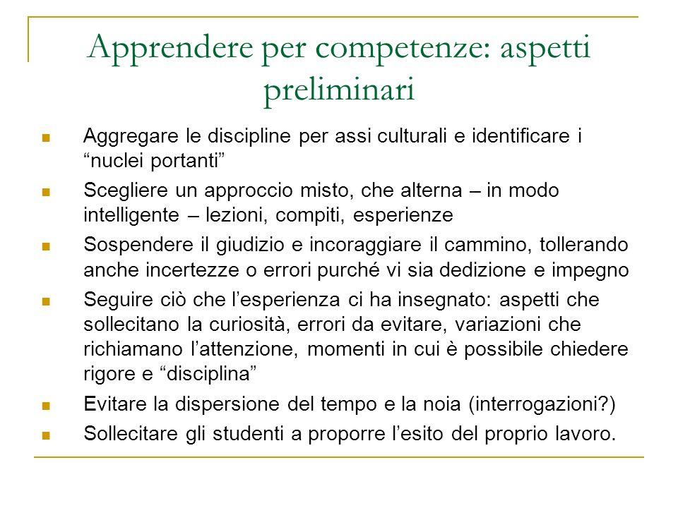 Apprendere per competenze: aspetti preliminari
