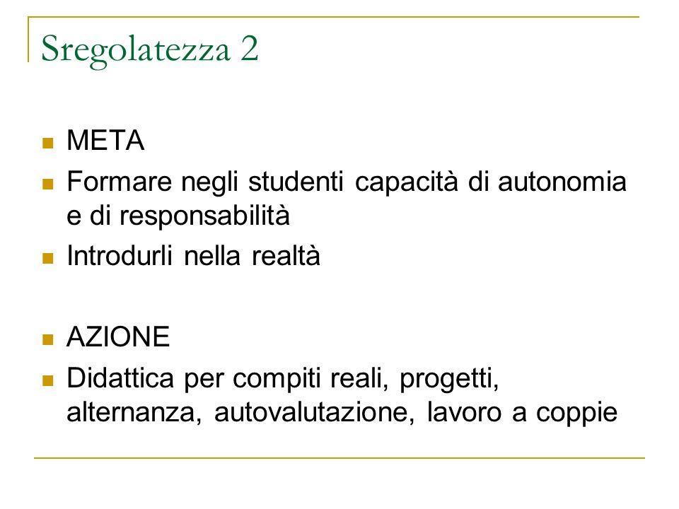 Sregolatezza 2 META. Formare negli studenti capacità di autonomia e di responsabilità. Introdurli nella realtà.