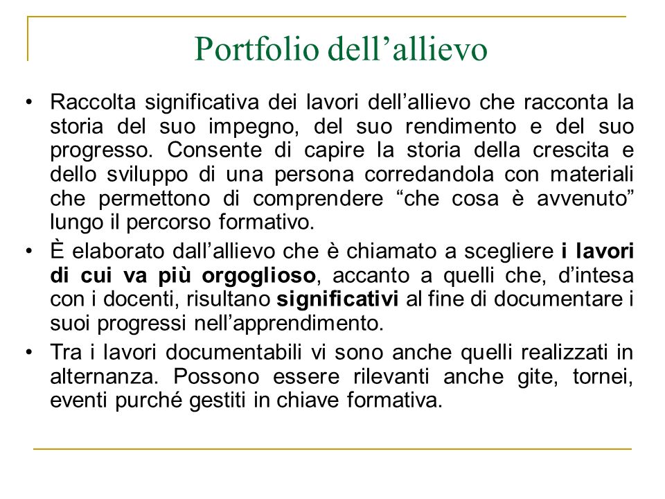 Portfolio dell'allievo