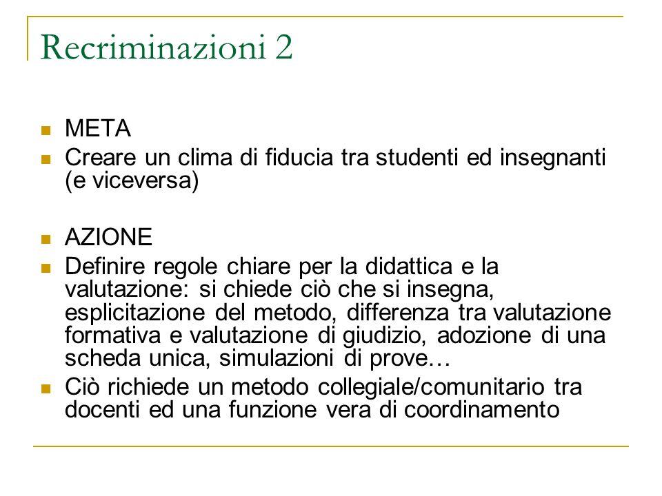 Recriminazioni 2 META. Creare un clima di fiducia tra studenti ed insegnanti (e viceversa) AZIONE.