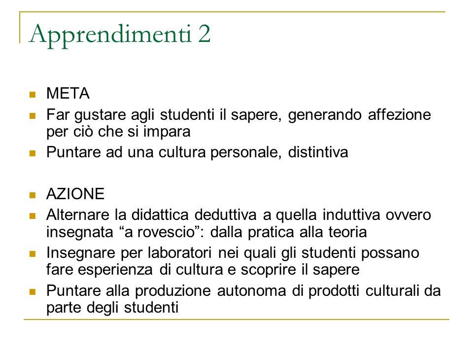 Apprendimenti 2 META. Far gustare agli studenti il sapere, generando affezione per ciò che si impara.