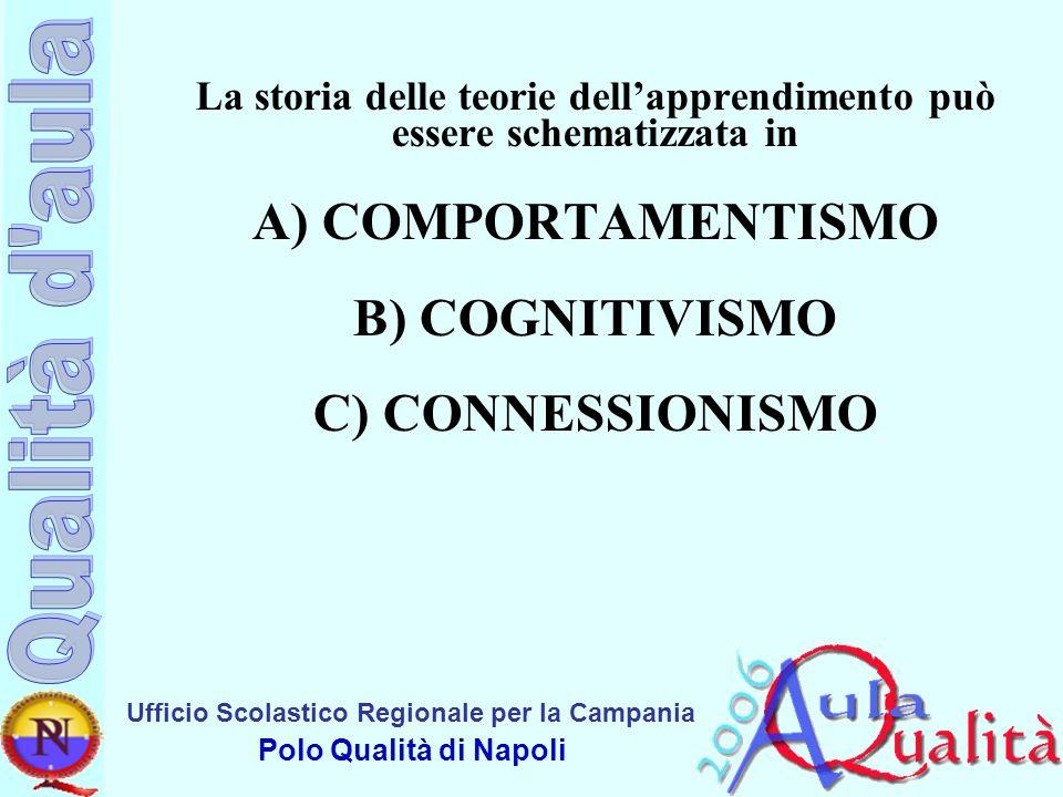 La storia delle teorie dell'apprendimento può essere schematizzata in A) COMPORTAMENTISMO B) COGNITIVISMO C) CONNESSIONISMO
