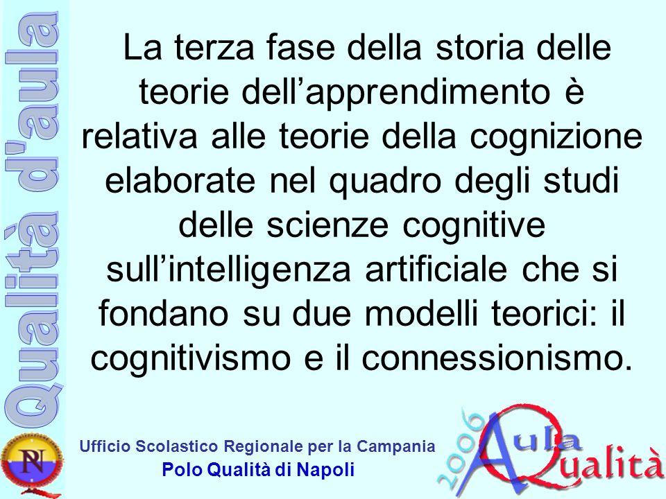 La terza fase della storia delle teorie dell'apprendimento è relativa alle teorie della cognizione elaborate nel quadro degli studi delle scienze cognitive sull'intelligenza artificiale che si fondano su due modelli teorici: il cognitivismo e il connessionismo.