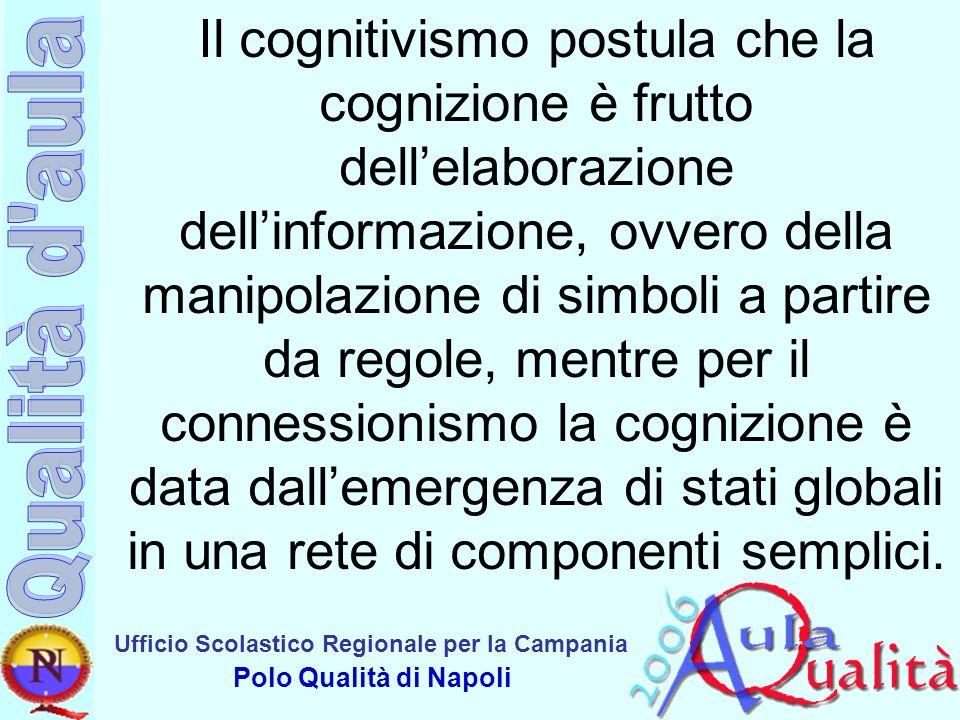 Il cognitivismo postula che la cognizione è frutto dell'elaborazione dell'informazione, ovvero della manipolazione di simboli a partire da regole, mentre per il connessionismo la cognizione è data dall'emergenza di stati globali in una rete di componenti semplici.