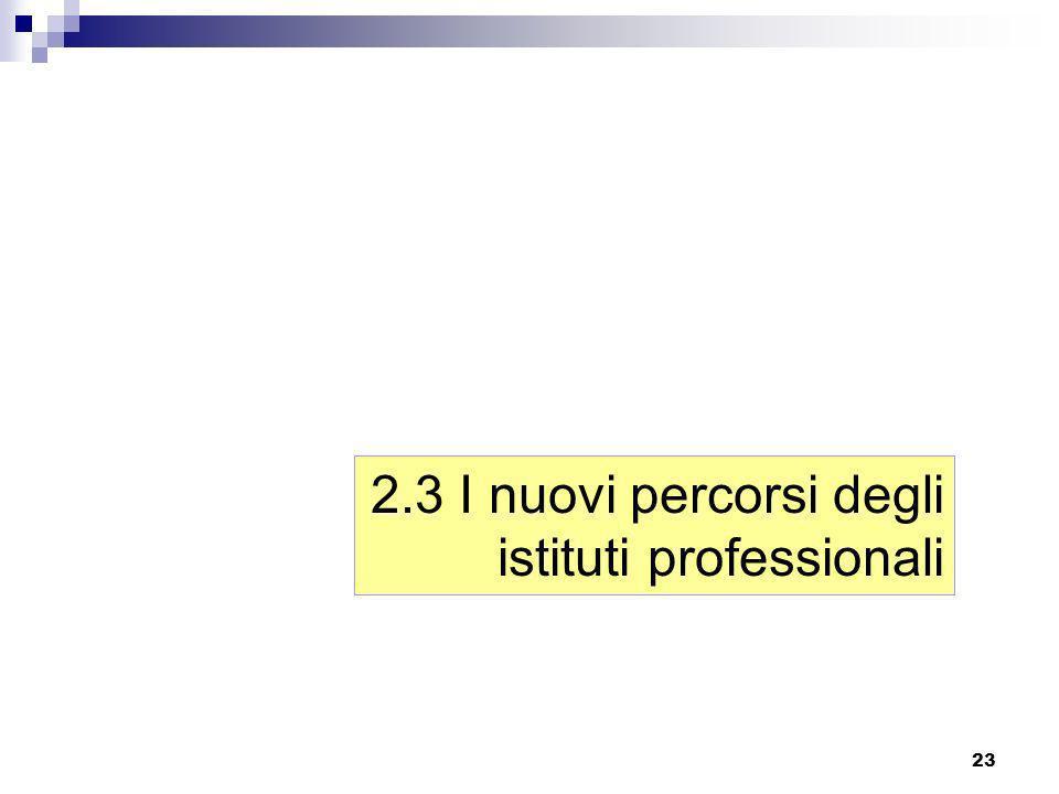 2.3 I nuovi percorsi degli istituti professionali