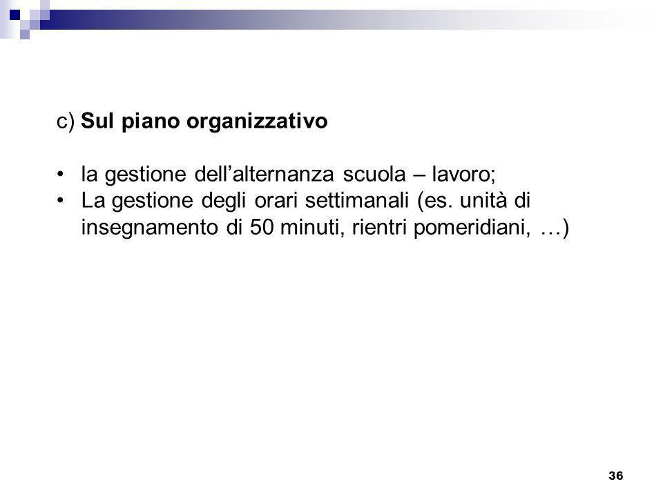 c) Sul piano organizzativo