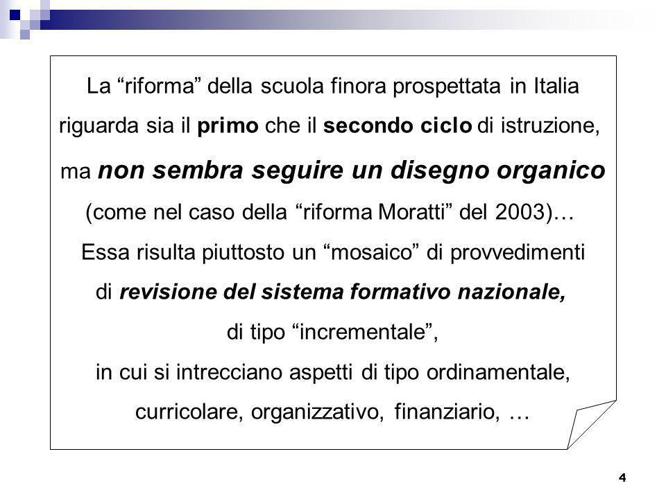 La riforma della scuola finora prospettata in Italia