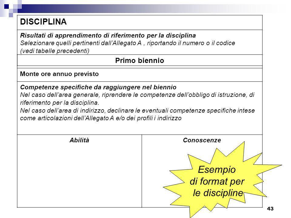 Esempio di format per le discipline DISCIPLINA Primo biennio