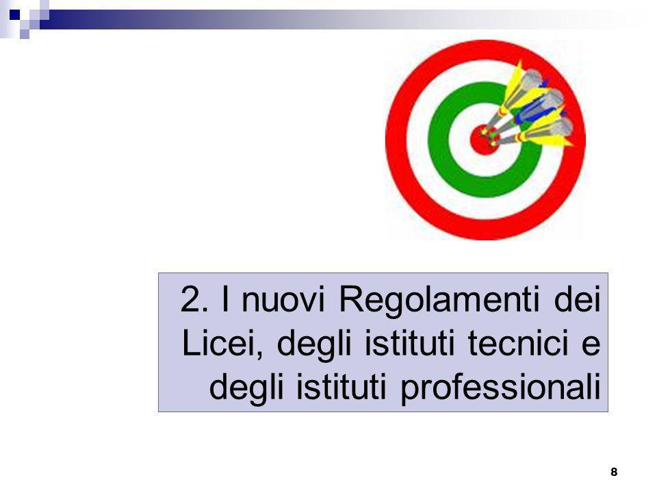 2. I nuovi Regolamenti dei Licei, degli istituti tecnici e degli istituti professionali