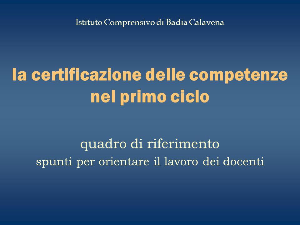la certificazione delle competenze nel primo ciclo