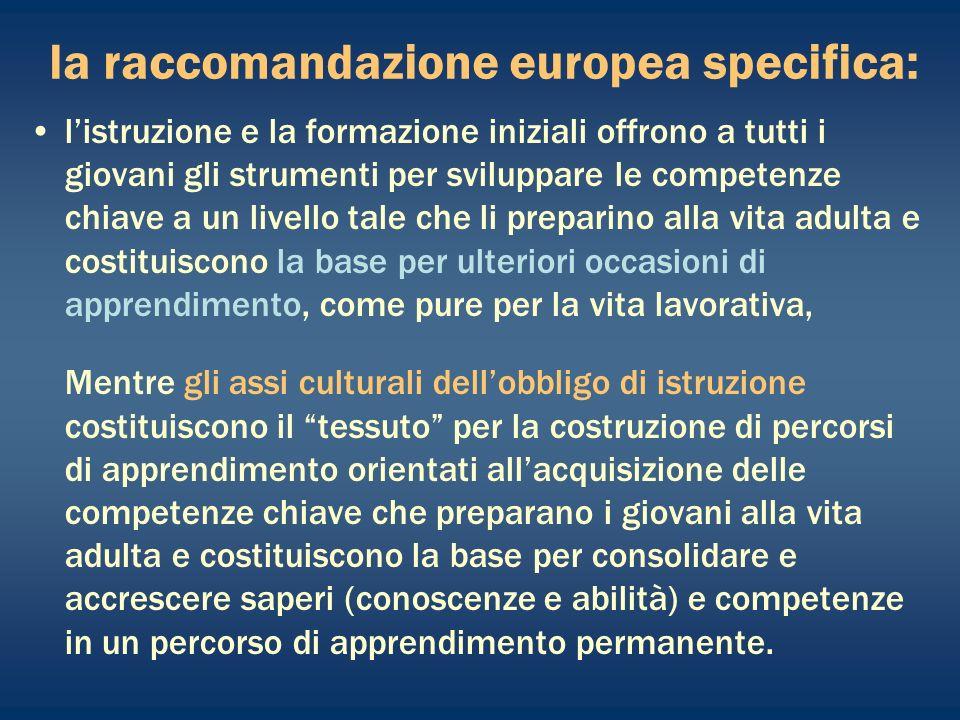 la raccomandazione europea specifica: