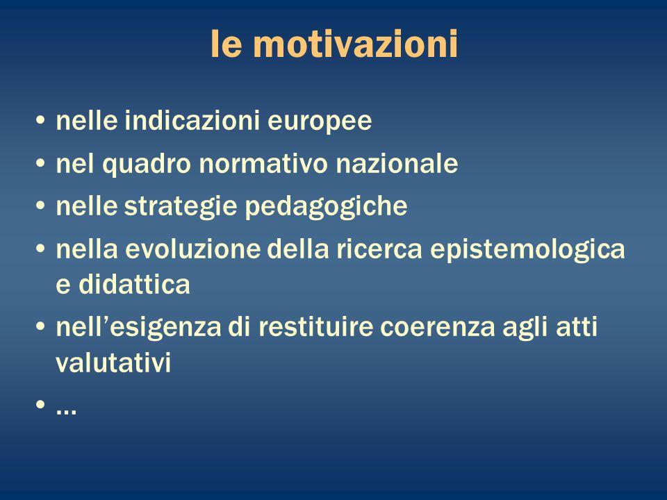 le motivazioni nelle indicazioni europee