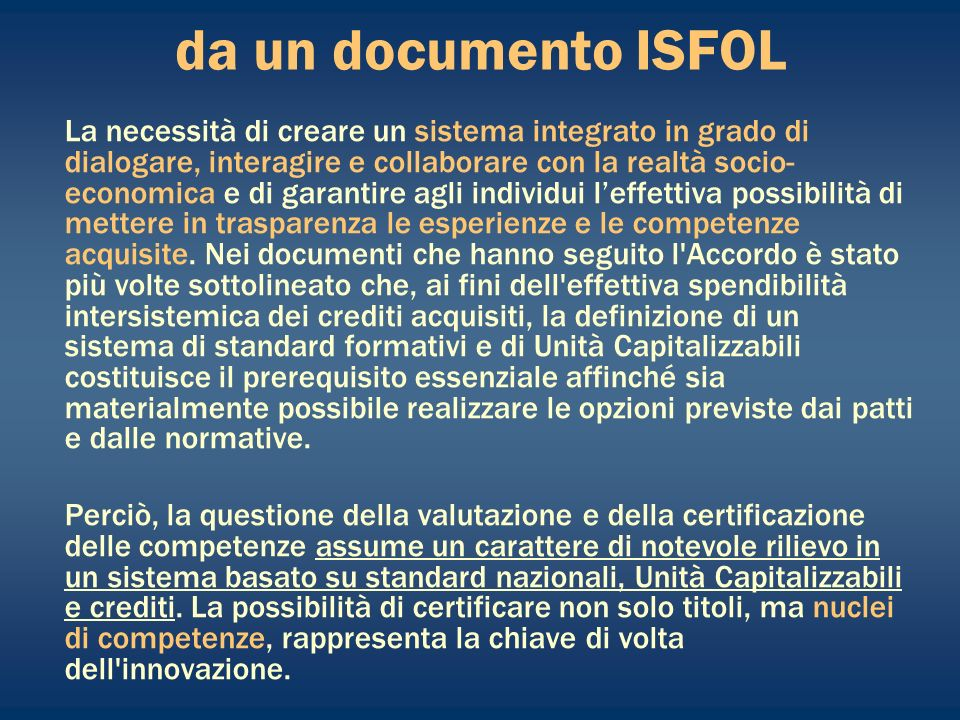da un documento ISFOL