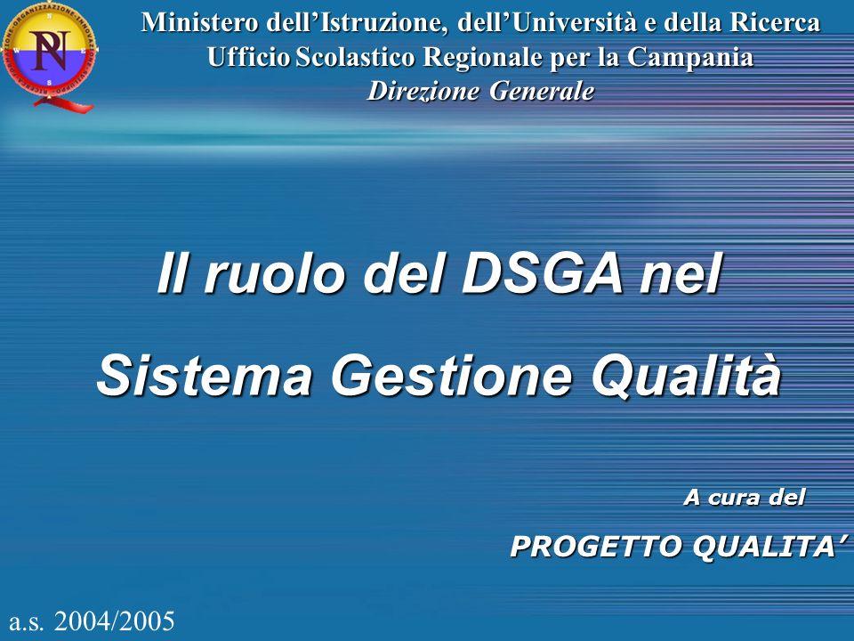 Il ruolo del DSGA nel Sistema Gestione Qualità