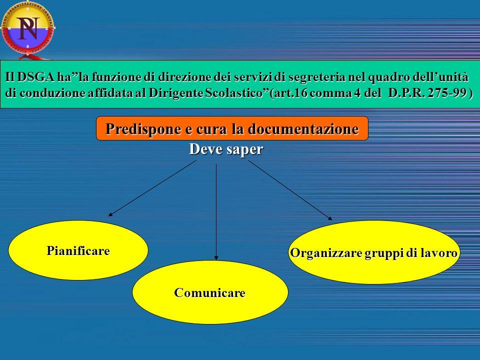 Predispone e cura la documentazione Organizzare gruppi di lavoro