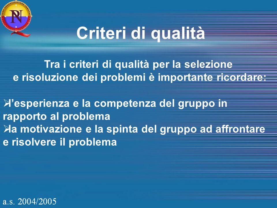 Criteri di qualità Tra i criteri di qualità per la selezione