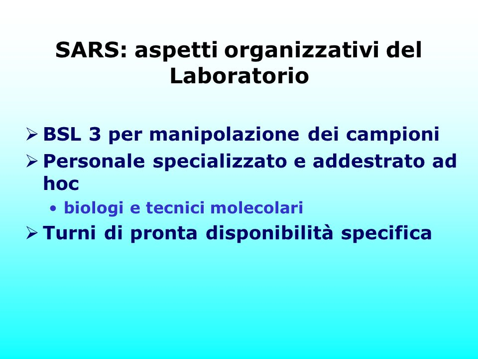 SARS: aspetti organizzativi del Laboratorio