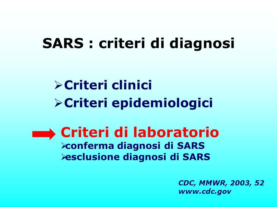 SARS : criteri di diagnosi