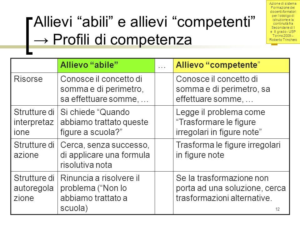 Allievi abili e allievi competenti → Profili di competenza