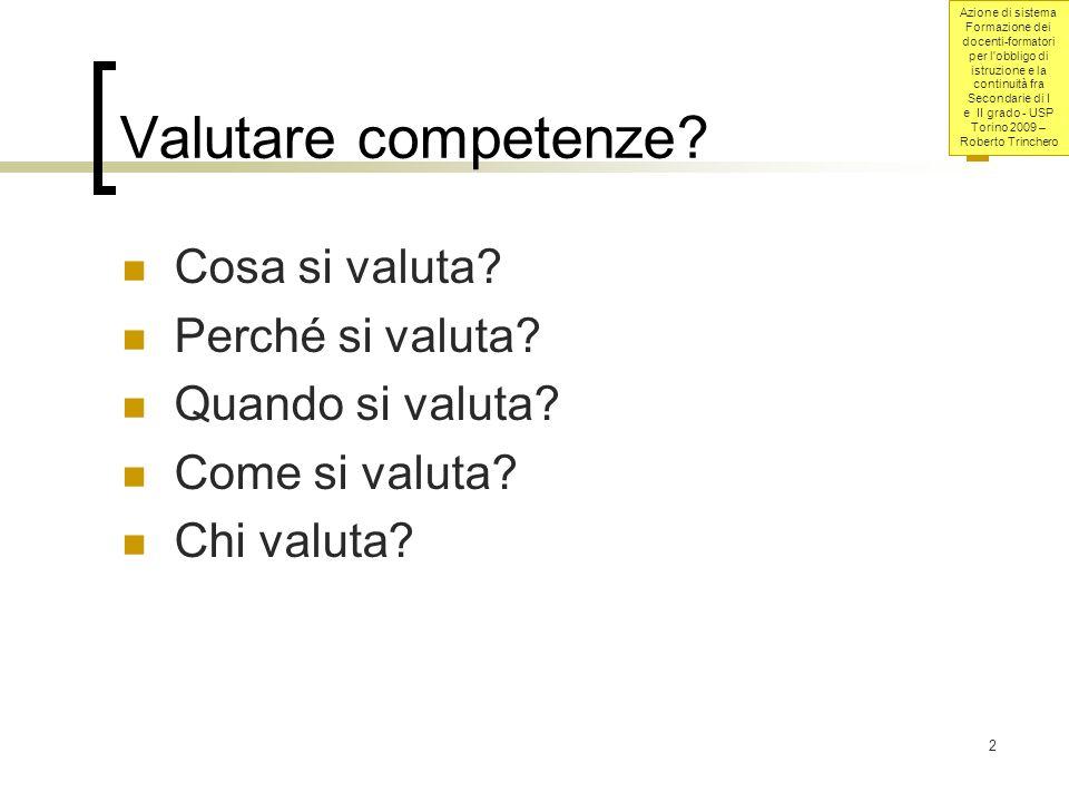 Valutare competenze Cosa si valuta Perché si valuta