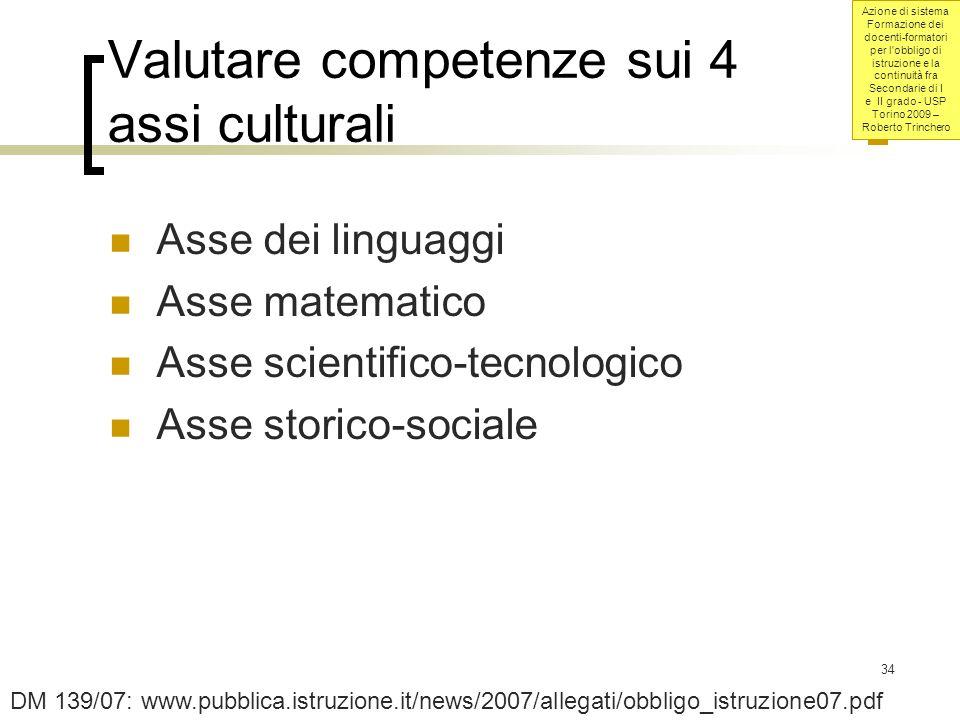 Valutare competenze sui 4 assi culturali