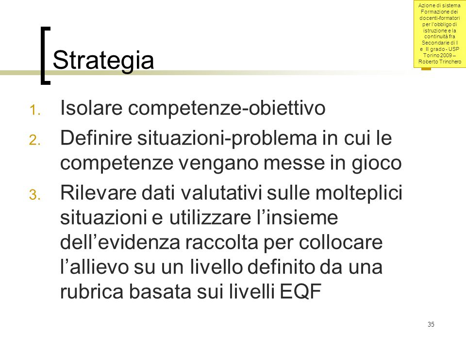 Strategia Isolare competenze-obiettivo