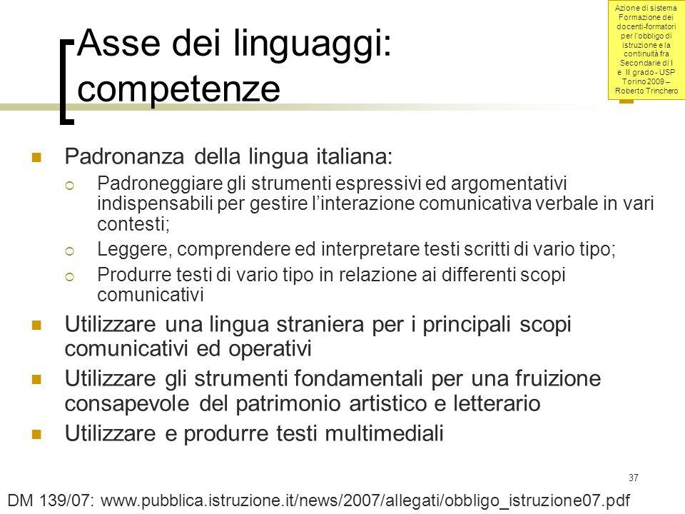 Asse dei linguaggi: competenze