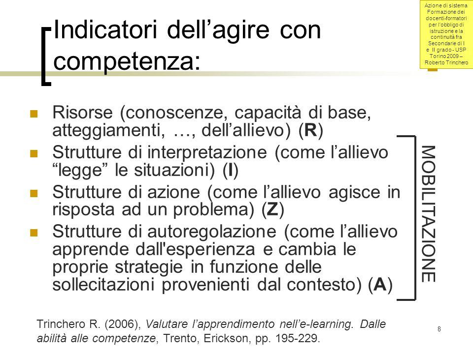Indicatori dell'agire con competenza: