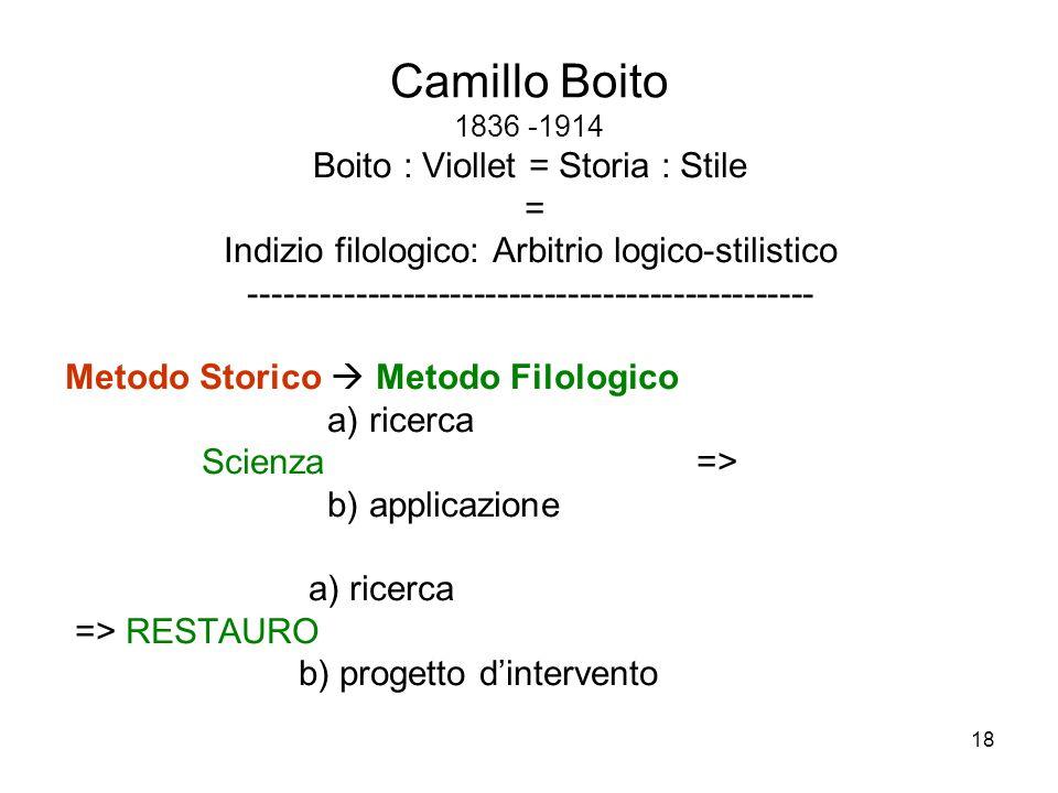 Camillo Boito 1836 -1914 Boito : Viollet = Storia : Stile =
