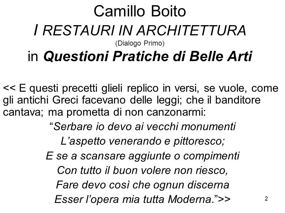 Camillo Boito I RESTAURI IN ARCHITETTURA (Dialogo Primo) in Questioni Pratiche di Belle Arti
