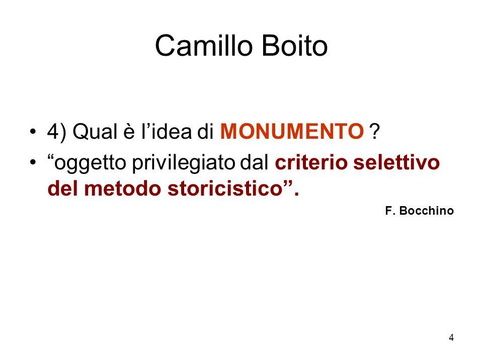 Camillo Boito 4) Qual è l'idea di MONUMENTO
