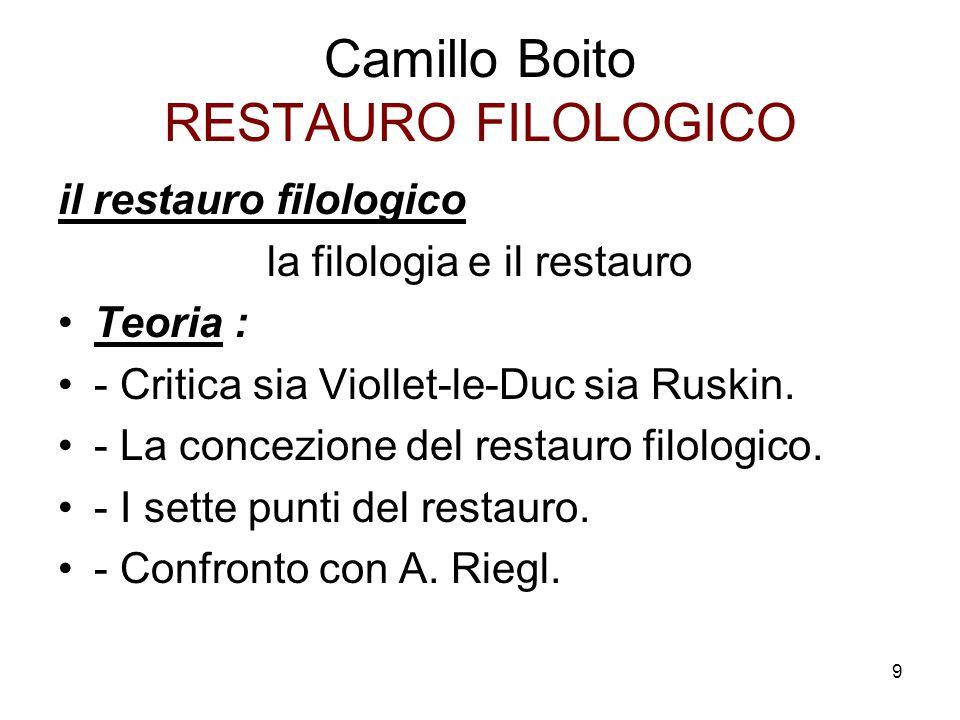 Camillo Boito RESTAURO FILOLOGICO