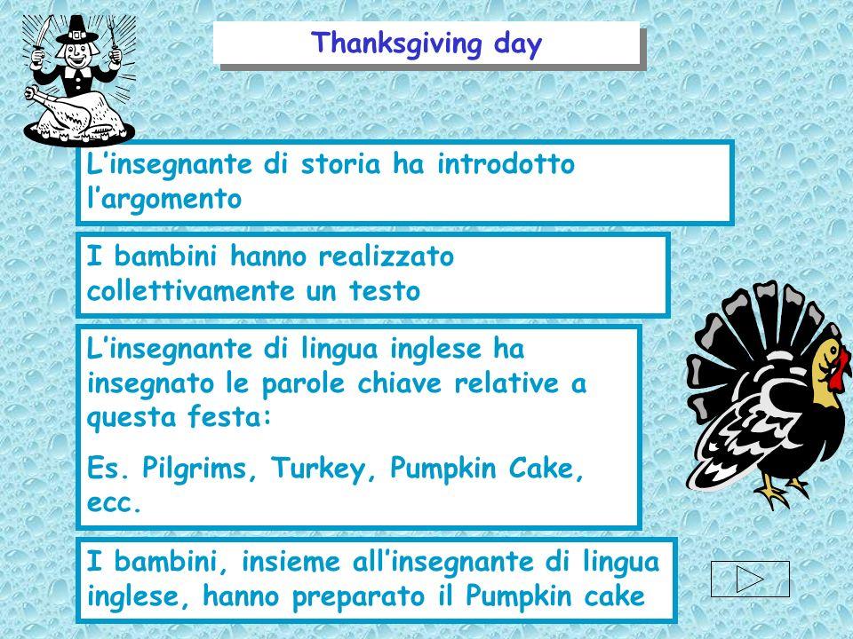 Thanksgiving day L'insegnante di storia ha introdotto l'argomento. I bambini hanno realizzato collettivamente un testo.