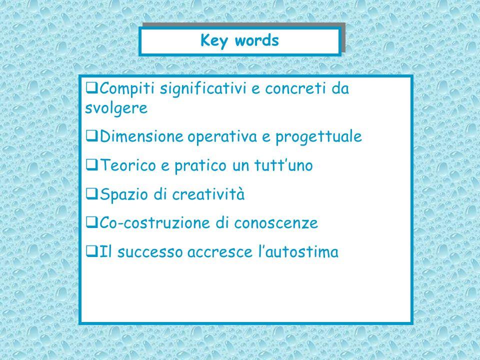 Key words Compiti significativi e concreti da svolgere. Dimensione operativa e progettuale. Teorico e pratico un tutt'uno.