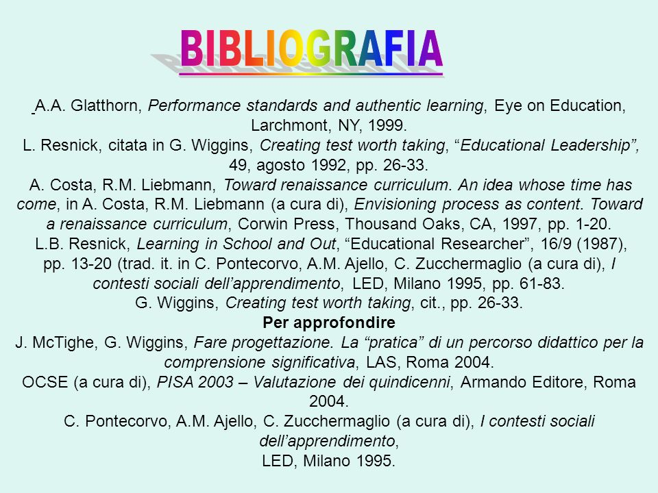 BIBLIOGRAFIA A.A. Glatthorn, Performance standards and authentic learning, Eye on Education, Larchmont, NY, 1999.