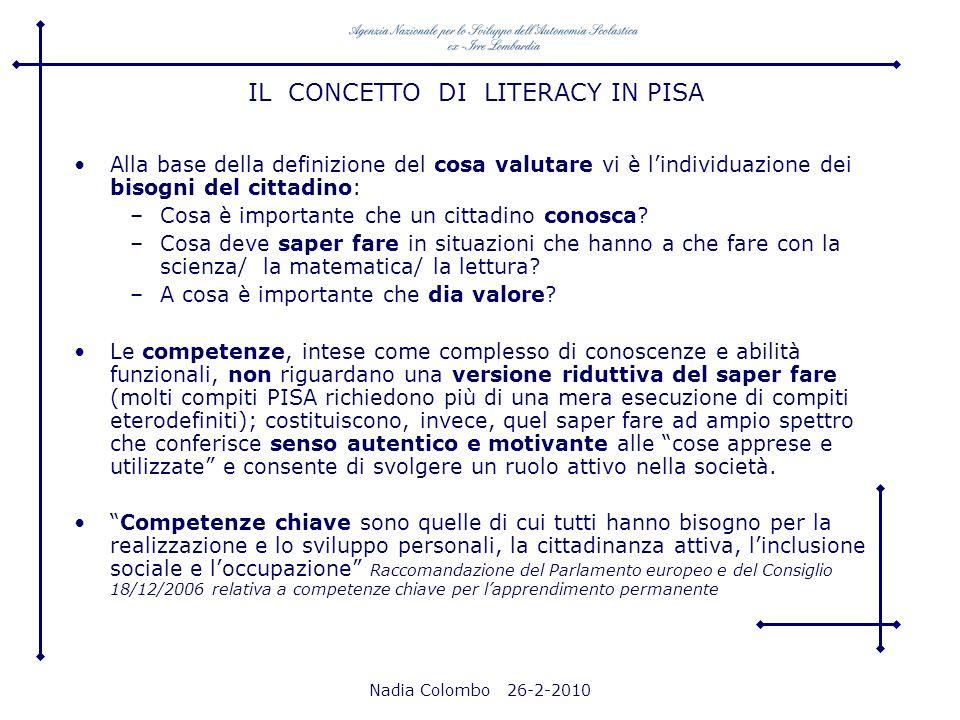 IL CONCETTO DI LITERACY IN PISA