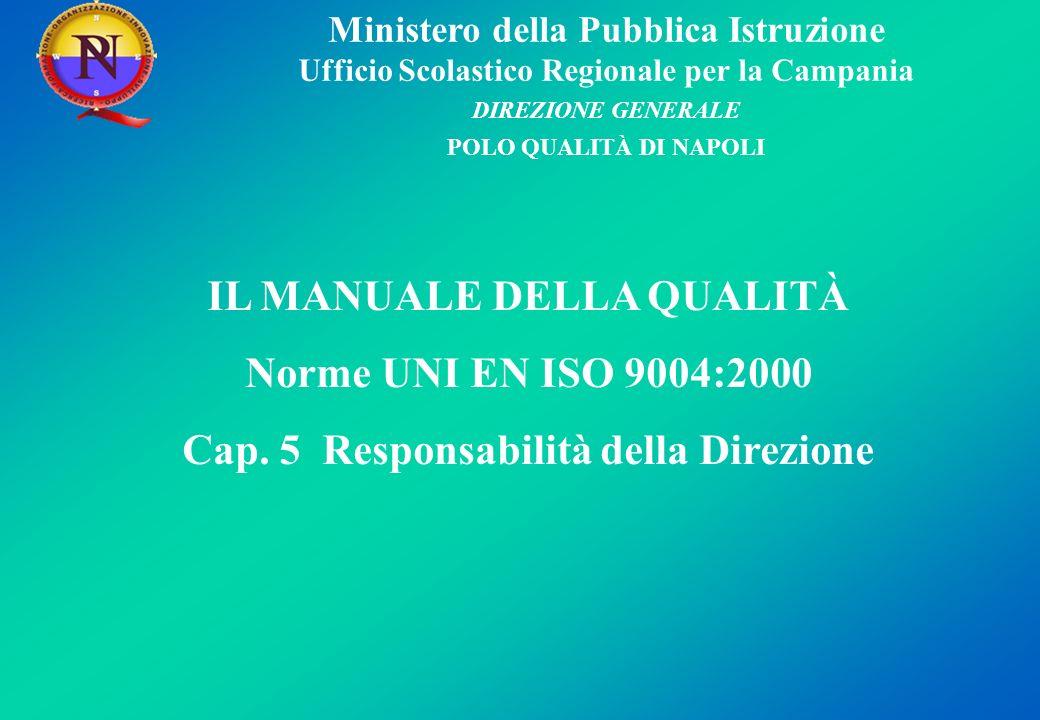 IL MANUALE DELLA QUALITÀ Cap. 5 Responsabilità della Direzione