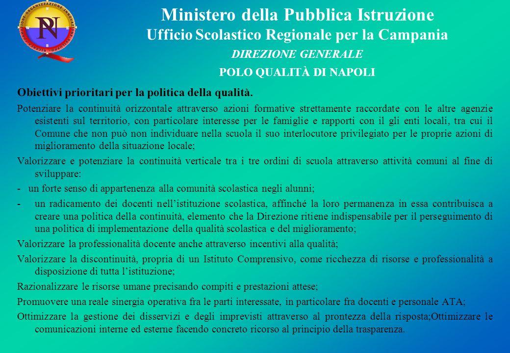Obiettivi prioritari per la politica della qualità.
