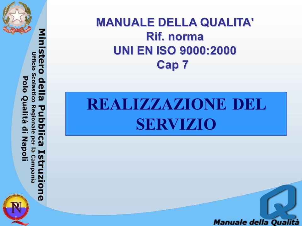 MANUALE DELLA QUALITA Rif. norma REALIZZAZIONE DEL SERVIZIO