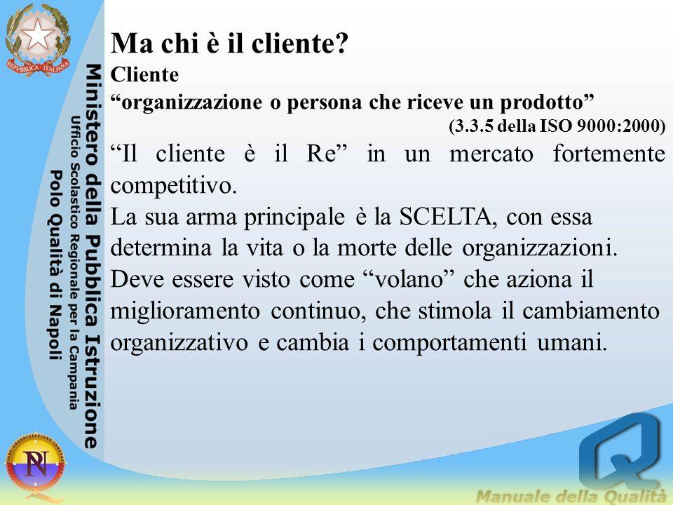 Ma chi è il cliente Cliente. organizzazione o persona che riceve un prodotto (3.3.5 della ISO 9000:2000)