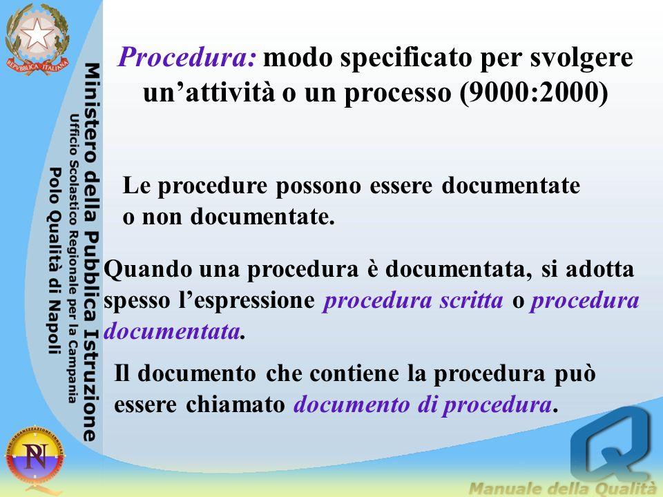 Procedura: modo specificato per svolgere un'attività o un processo (9000:2000)