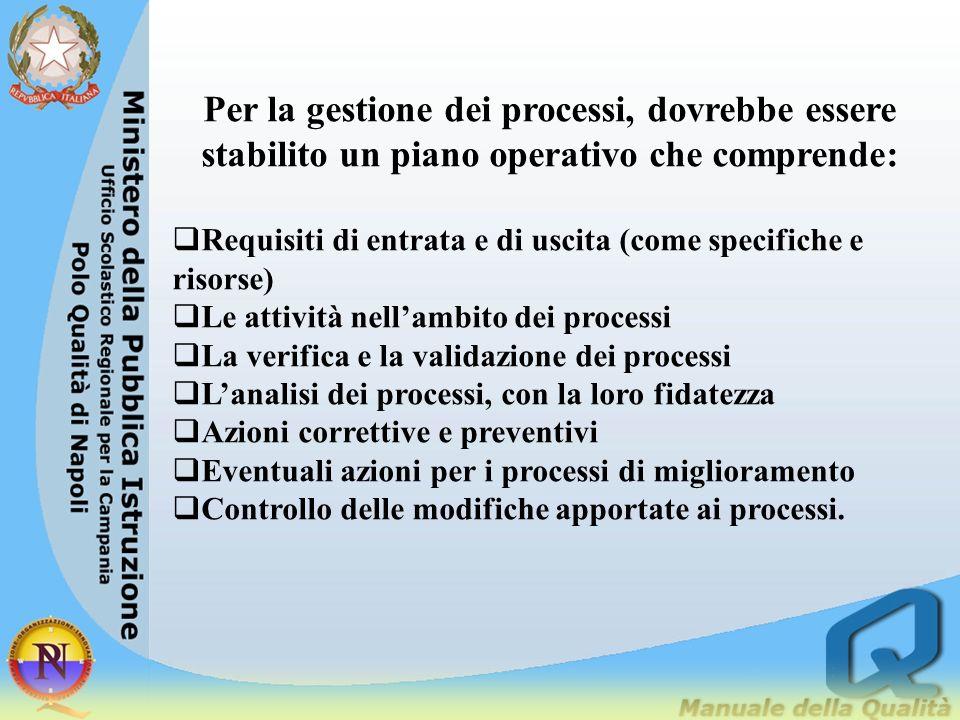 Per la gestione dei processi, dovrebbe essere stabilito un piano operativo che comprende: