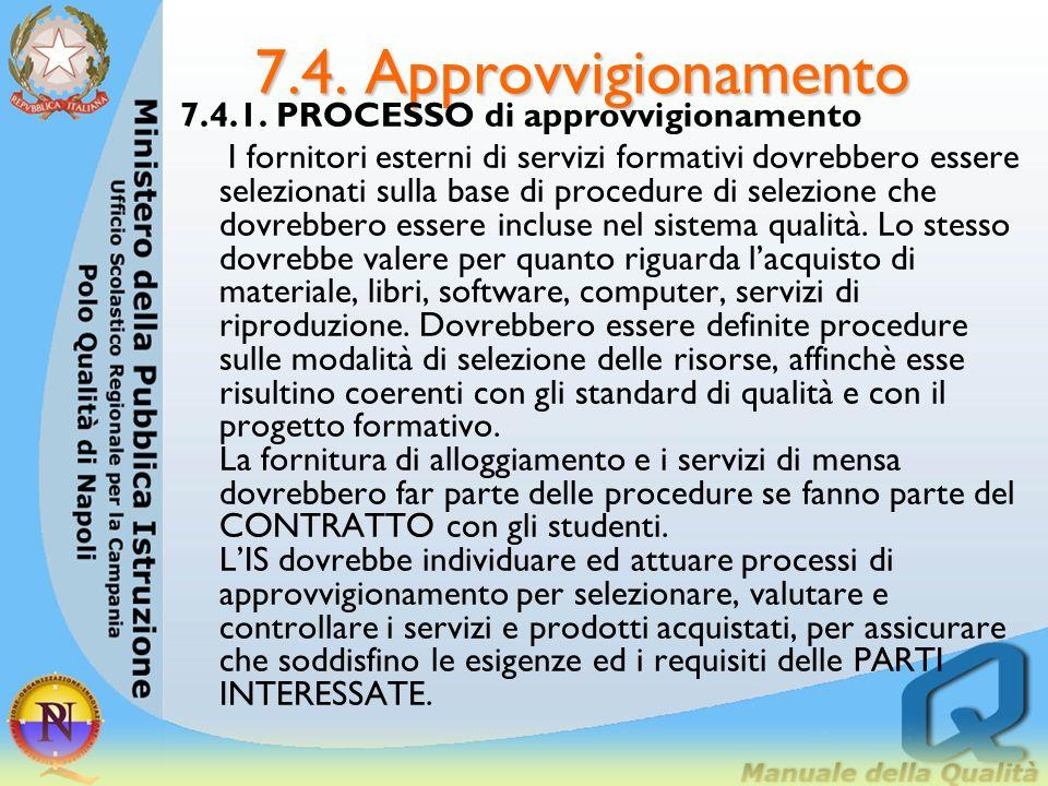 7.4. Approvvigionamento 7.4.1. PROCESSO di approvvigionamento