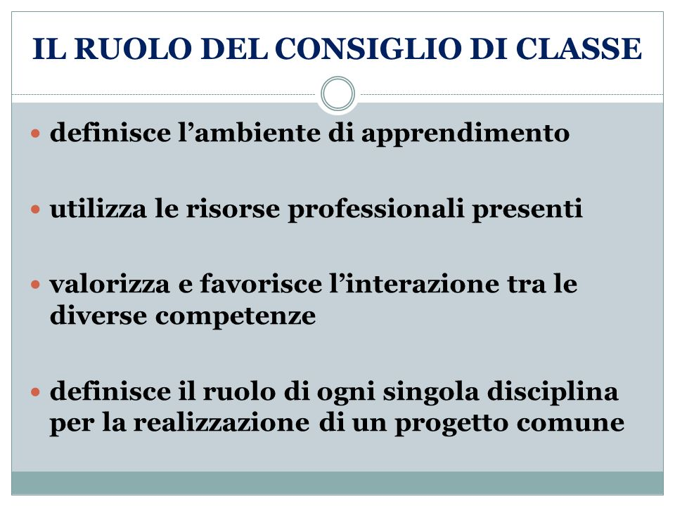 IL RUOLO DEL CONSIGLIO DI CLASSE