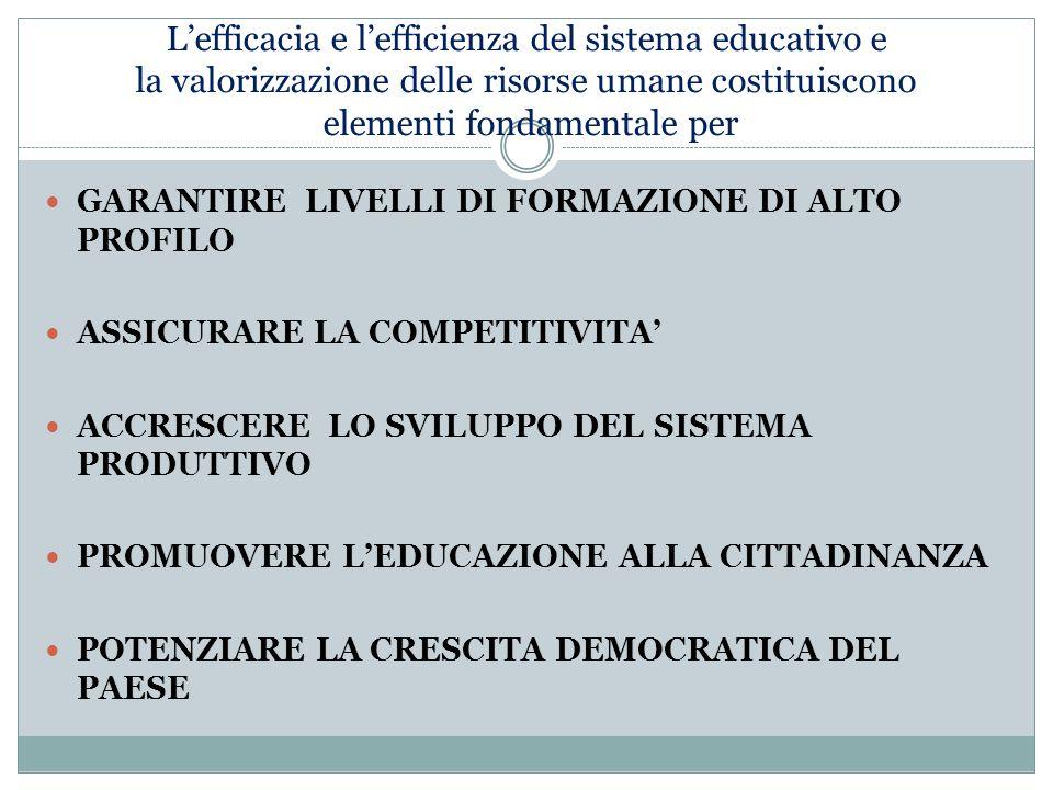 L'efficacia e l'efficienza del sistema educativo e la valorizzazione delle risorse umane costituiscono elementi fondamentale per