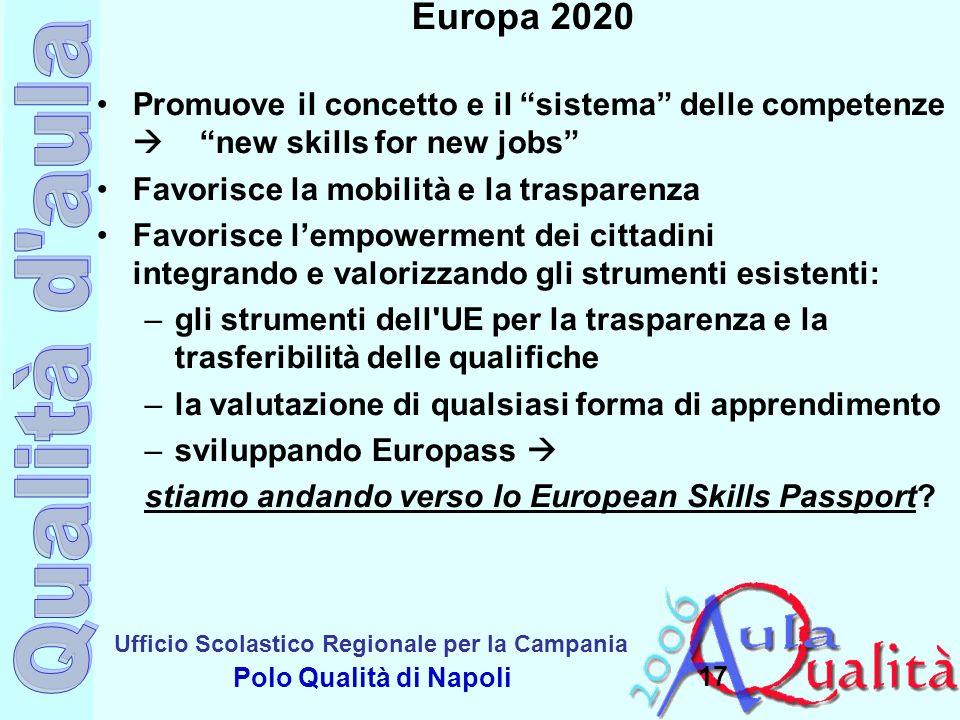 Europa 2020 Promuove il concetto e il sistema delle competenze  new skills for new jobs