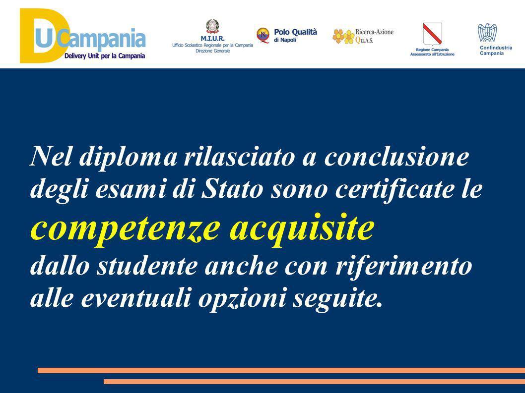 Nel diploma rilasciato a conclusione degli esami di Stato sono certificate le competenze acquisite dallo studente anche con riferimento alle eventuali opzioni seguite.
