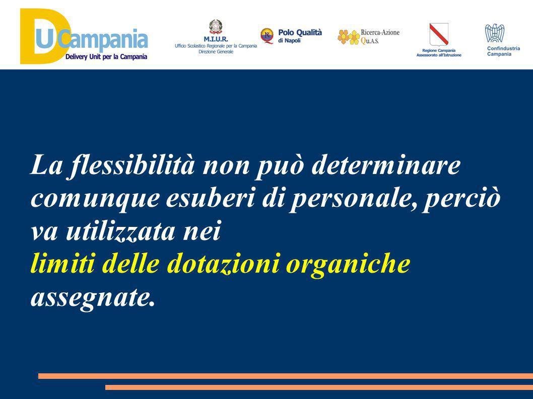 La flessibilità non può determinare comunque esuberi di personale, perciò va utilizzata nei limiti delle dotazioni organiche assegnate.