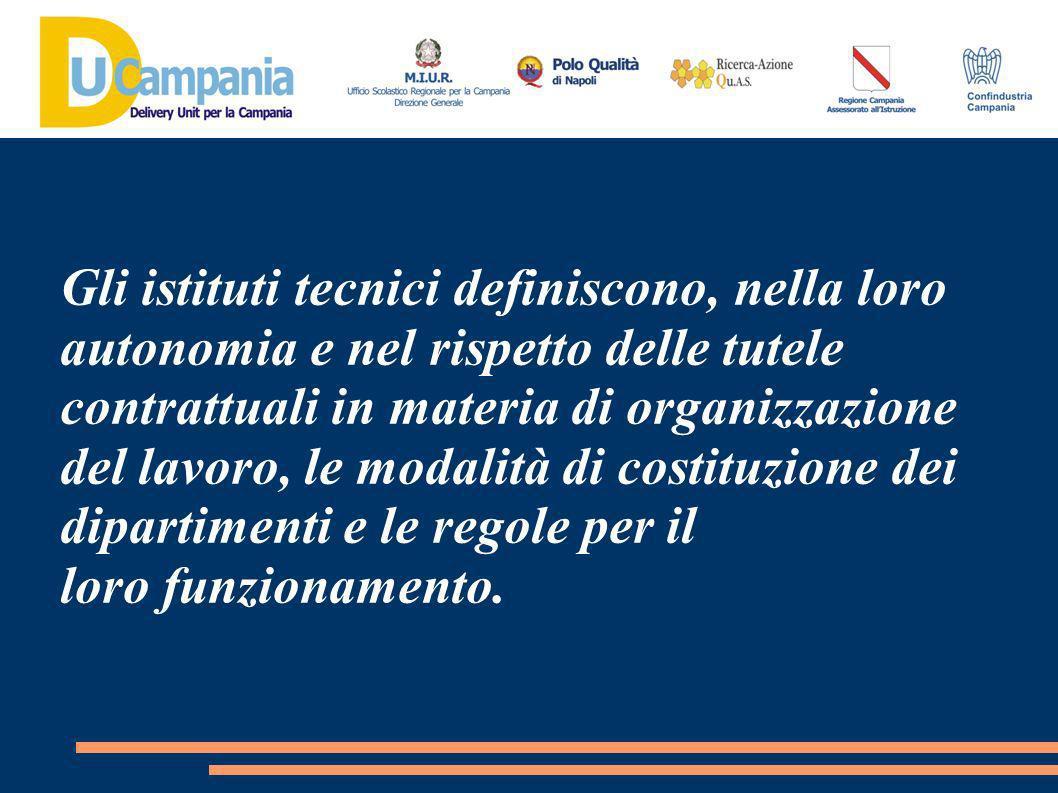 Gli istituti tecnici definiscono, nella loro autonomia e nel rispetto delle tutele contrattuali in materia di organizzazione del lavoro, le modalità di costituzione dei dipartimenti e le regole per il loro funzionamento.